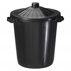Poubelle en PVC noire de 80 litres