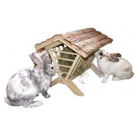 Râtelier à foin en bois pour lapins, cochons d'Inde ou hamsters