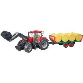 Tracteur jouet Bruder Case IH rouge Optum 300 CVX avec plateau à boules de paille 03198