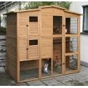 Poulailler en bois pour 6-8 poules avec parcours extérieur intégré (Roma Kerbl)