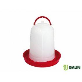 Abreuvoir baïonnette en plastique blanc et rouge avec anse pour poules