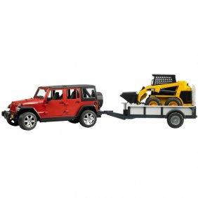Jeep Wrangler avec remorque et mini chargeur Cat jouet Bruder 02925