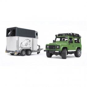 Jeep Land Rover Defender avec van et cheval jouet Bruder 02592