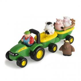 Tracteur avec remorques et animaux de la ferme avec sons et musique