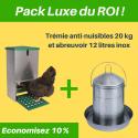Pack Luxe du Roi - trémie anti-nuisibles + abreuvoir inox pour poules