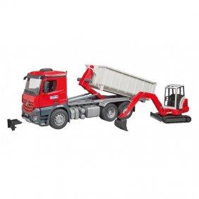 Camion MB Arocs Roll-Off container avec Schaeffer HR16 jouet Bruder 036249