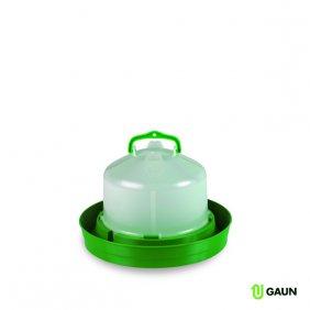 Abreuvoir en plastique résistant vert et blanc pour volaille