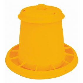 Nourrisseur à trémie en plastique jaune pour poules