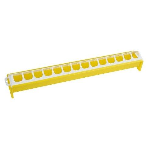 Mangeoire en plastique pour 15 poussins - jaune et blanc