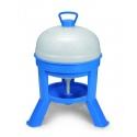 Abreuvoir sur pieds en plastique bleu et blanc pour poules en 20, 30 ou 40 litres